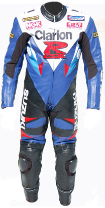 Clarion Suzuki GSXR motorcycle leather racing suit