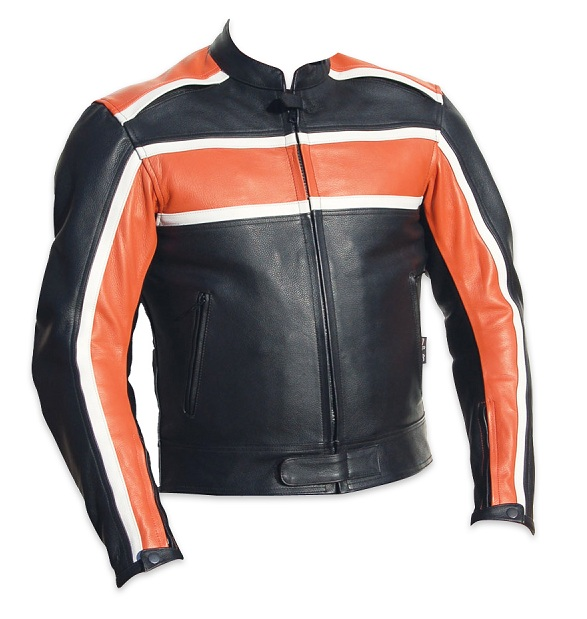 Classic mens leather motorcycle jacket orange