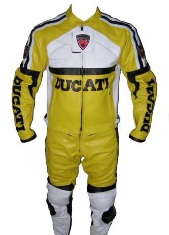 Ducati Yellow color biker leather suit