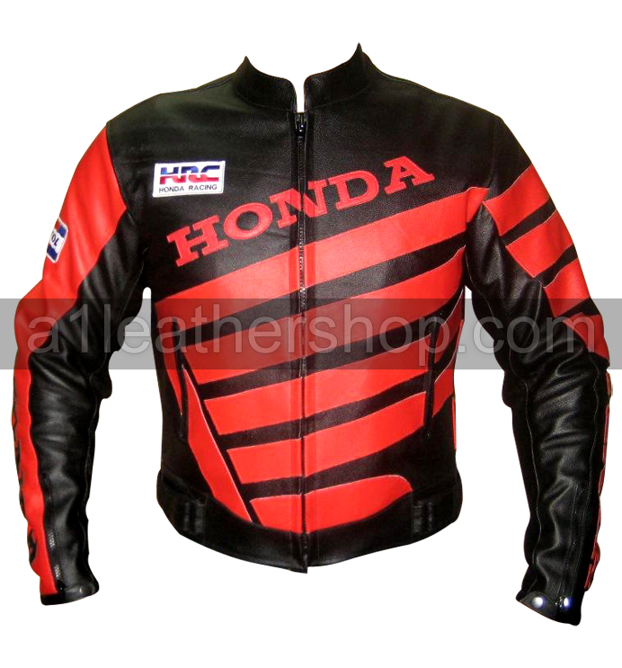 Honda Motorbike Racing Leather Jacket With Red Stripes