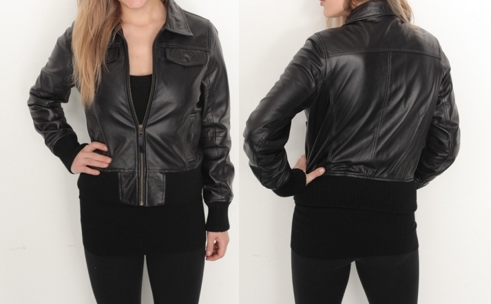 Ladies Black Soft Anline Leather Jacket