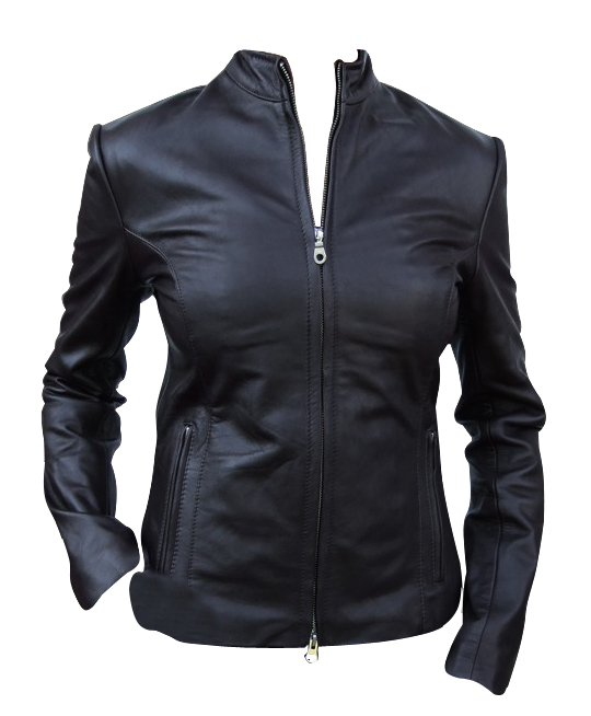 Ladies black color fashion leather jacket