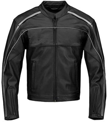 Stylish Black Motorcycle Leather Jacket with silver lining