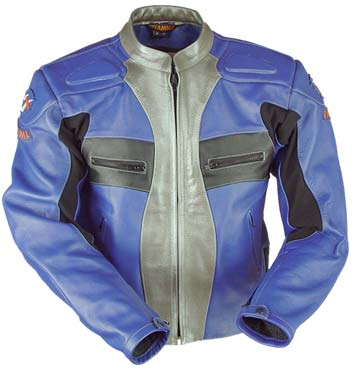 Motorcycle Fashion Leather Jacket Blue Silver Color