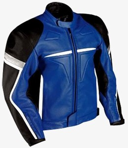 Motorcycle racing leather jacket in blue black and white color