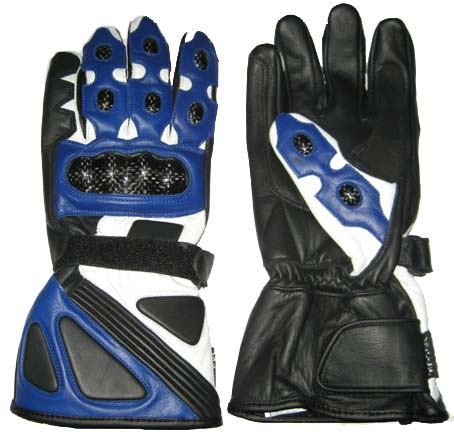 Motorbike Racing Leather Blue Gloves