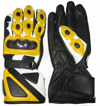 Motorbike Yellow Color Leather Gloves