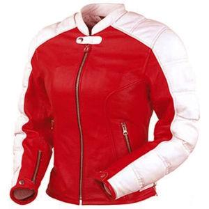 Red White Motorbike Ladies Cow Hide leather Jacket