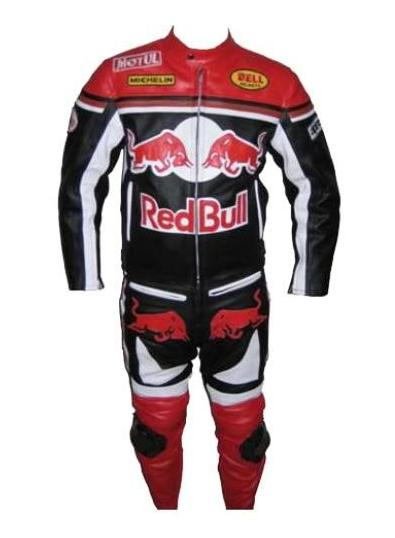 Stylish Color Red Bull Motorbike Cow Hide Leather Suit