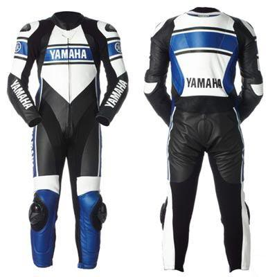 New Stylish Blue White  Black Color YAMAHA  Motorbike leather suit