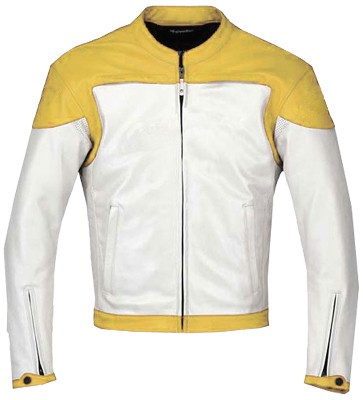 Stylish Yellow White Motorbike leather jacket