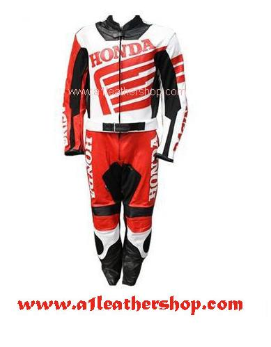 Stylish honda motorcycle racing leather suit in black red white color