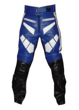 Blue white and black Color Motorbike Leather Pant