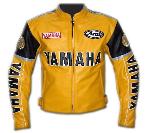 YAMAHA YELLOW COLOR MOTORBIKE LEATHER JACKET