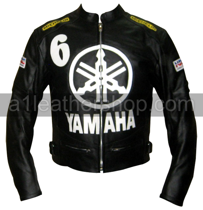 Yamaha 6 black and white biker leather jacket
