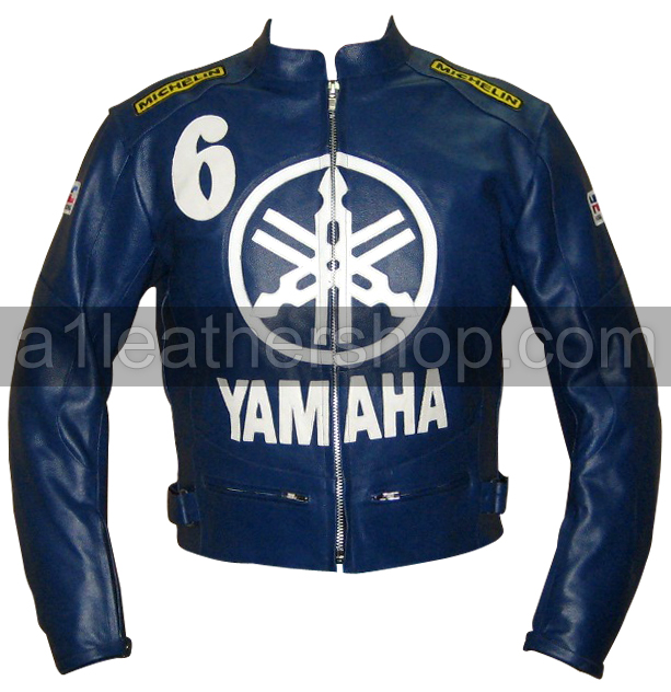 Yamaha 6 blue color motorcycle leather jacket