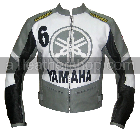 Yamaha 6 motorcycle leather jacket grey black white color
