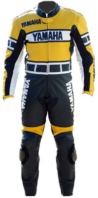Yamaha yellow black racing leather suit