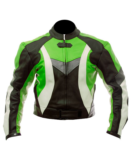 biker leather jacket in green black white color
