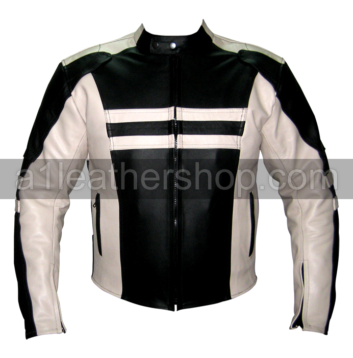 biker racing leather jacket in white black color