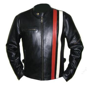 Black soft aniline leather jacket with red and white strip