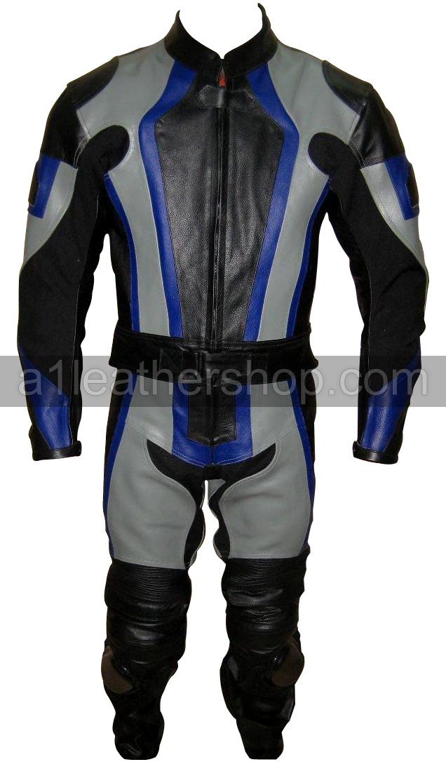 stylish silver and black motorcycle racing leather suit