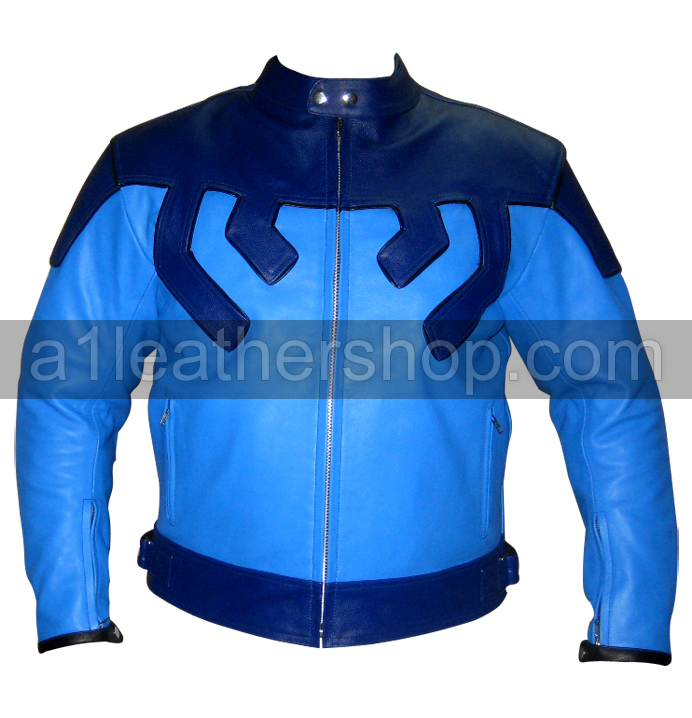 blue color riding motorcycle leather jacket