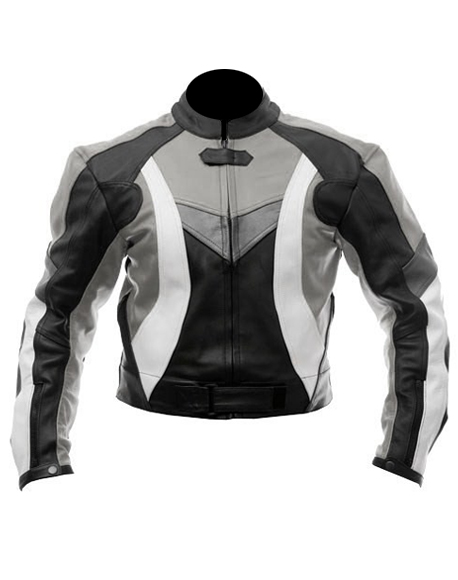 fashion motorcycle leather jacket in black grey white color