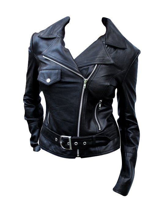 ladies classic motorcycle leather jacket black