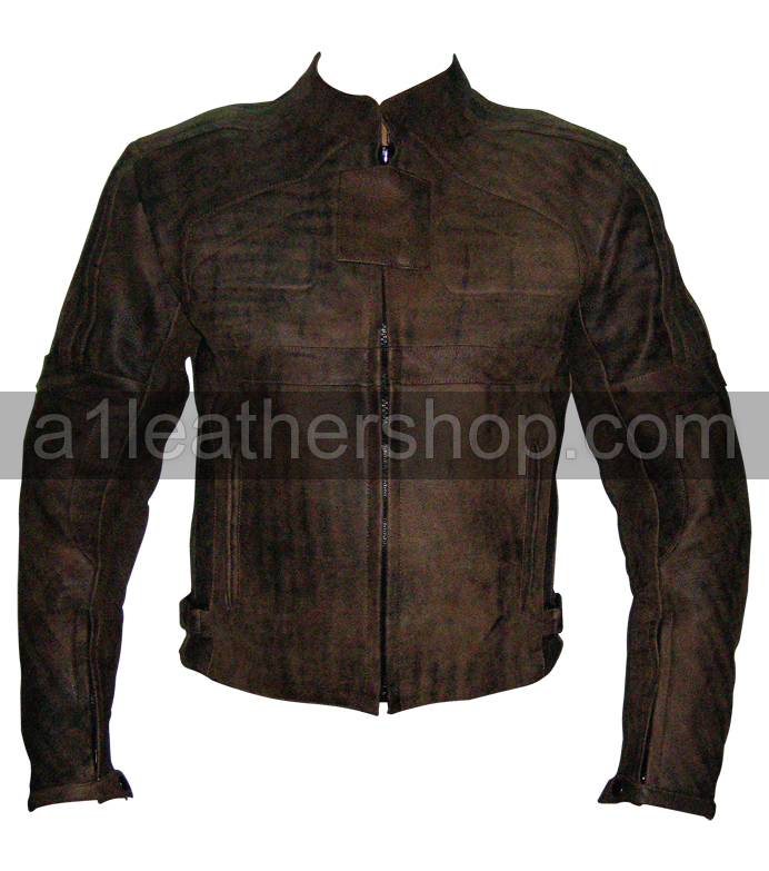 mens distressed brown fashion leather jacket