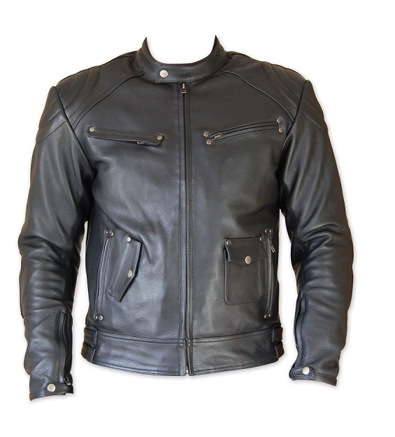 motorcycle leather jacket full black color