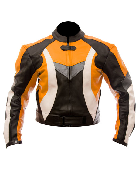 motorcycle leather jacket in orange black white color
