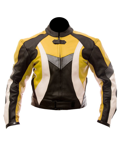 motorcycle leather jacket in yellow black white color