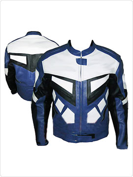 motorcycle racing leather jacket in black white and blue color