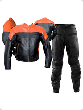 orange and black color motorcycle leather suit