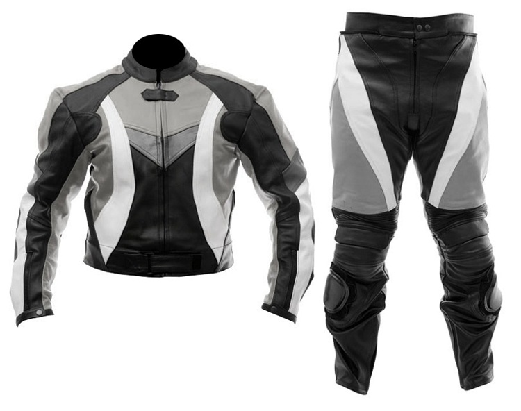 two piece motorcycle biker leather suit black grey color