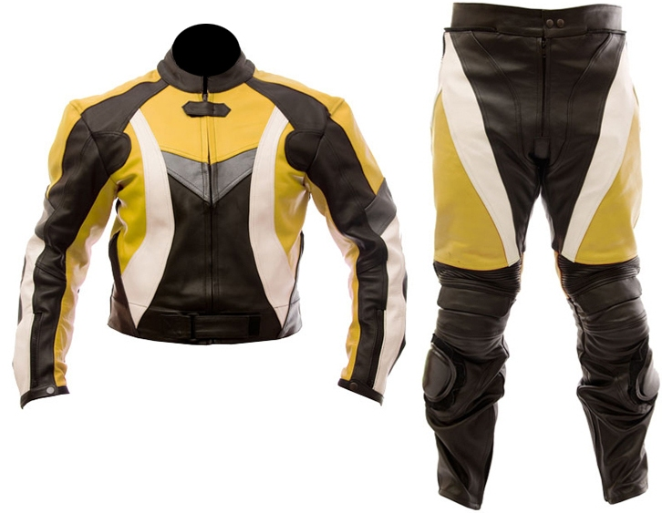two piece motorcycle biker leather suit yellow black white color