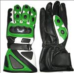 Cowhide Motorbike Leather Green Gloves