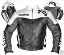 YAMAHA R6 Black White Color Motorbike Leather Jacket