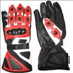 Motorbike Racing Leather Red Color Gloves
