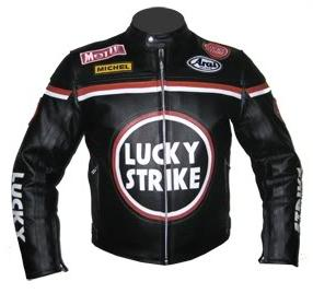 New Stylish Black LUCKY STRIKE Motorbike Leather Jacket