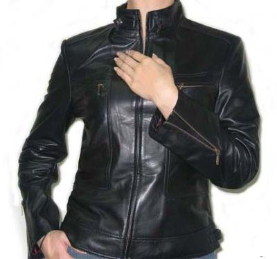 Ladies Black Color Leather Jacket
