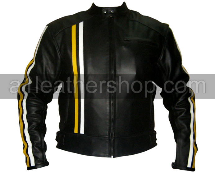Black Motorcycle Leather Jacket with yellow white stripes