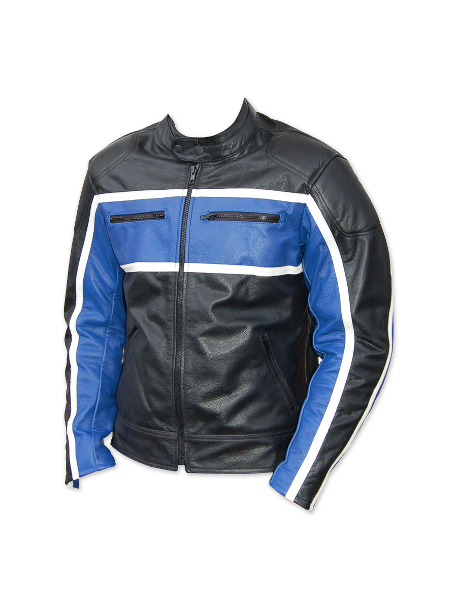 Classic mens leather motorcycle jacket