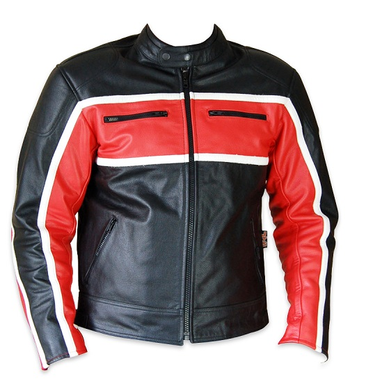 Classic mens leather motorcycle jacket red