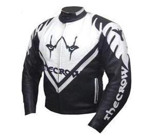 Crow Style Black White Color Motorbike Leather Jacket