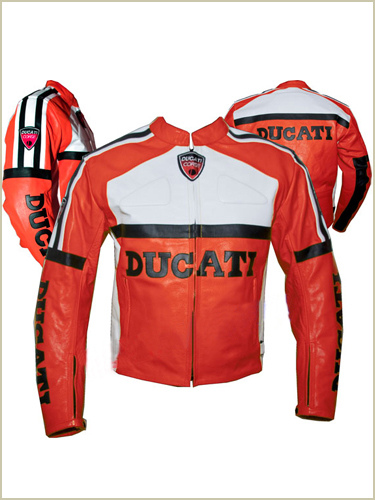 Ducati Brand Red White Motorbike leather jacket
