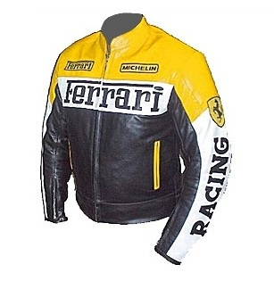 Ferrari motorcycle racing leather jacket yellow black color