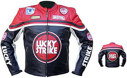 LUCKY STRIKE Brand Motorbike Leather Jacket