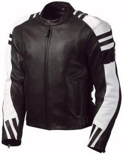 Stylish Black and White Motorcycle Leather Jacket